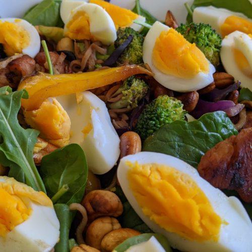 Keto diet - with chicken, eggs, spaghetti