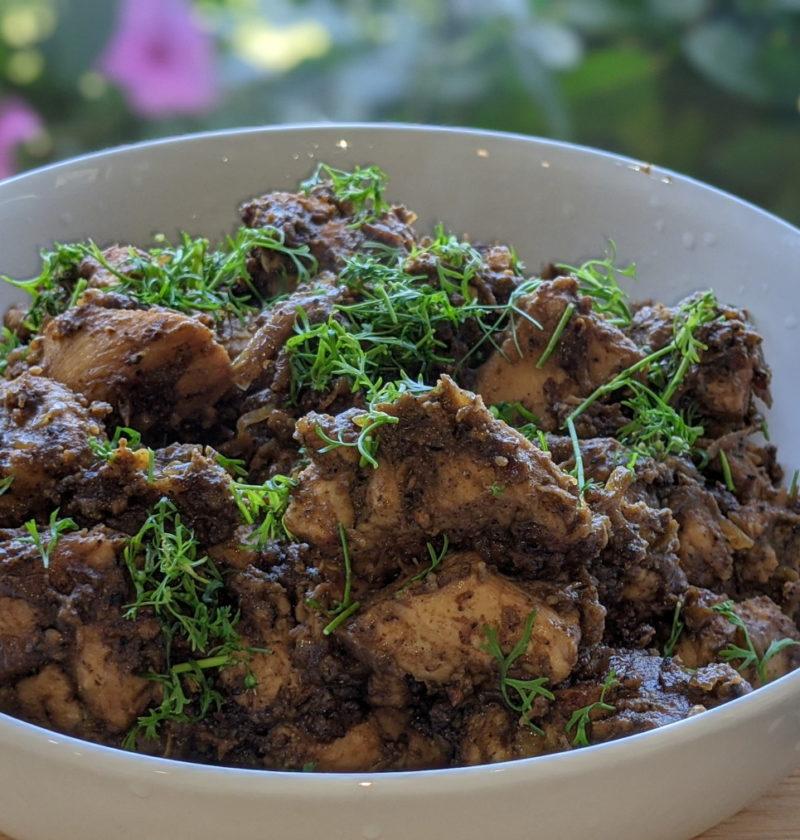 Garlic pepper chicken cooked